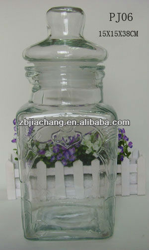 big volume clear square glass jar and glass lid