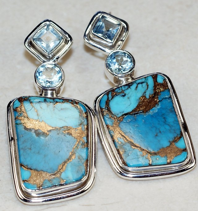Turquoise and Blue Topaz Silver Earrings, 925 Sterling Silver Fashion Jewelry