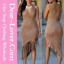 Western Designs Brown Faux Suede Fringe Adult Lady Girls Party Dress