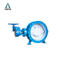 TKFM chinese supplier ductile cast iron worm gear operated wafer double eccentric grooved butterfly valve dn1000 pn16 epdm