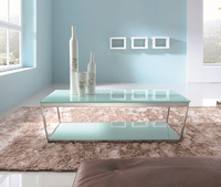 Metal Frame End Table with Rectangle Tempered Glass Top
