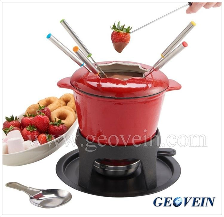 Christmas Promotion Cast Iron Cheese Warmer Enamel Chocolate Fondue Maker