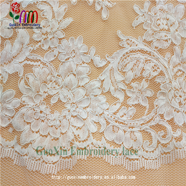 high quality white lace fabric embroidery tulle lace fabric for women dress
