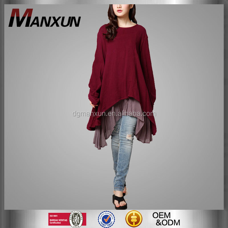 New Designs Summer 2016 New Ethnic Dress Long Sleeve Loose Fitting Cotton Deep Red Shirt Coat Dress