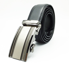 High quality automatic buckle cheap men's black leather ratchet waist belts