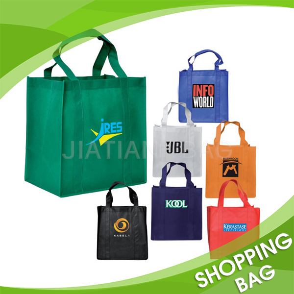 Wholesale 80gsm Customized Silkscreen Logo Printed Eco Handled Promotional Shopping Use Non Woven Fabric Bag