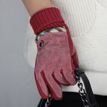 Thick extreme cold weather dress wine red motorbike leather glove welding glove