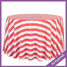 LZB047 preserved 132 inch white and red strip table cloth for round table