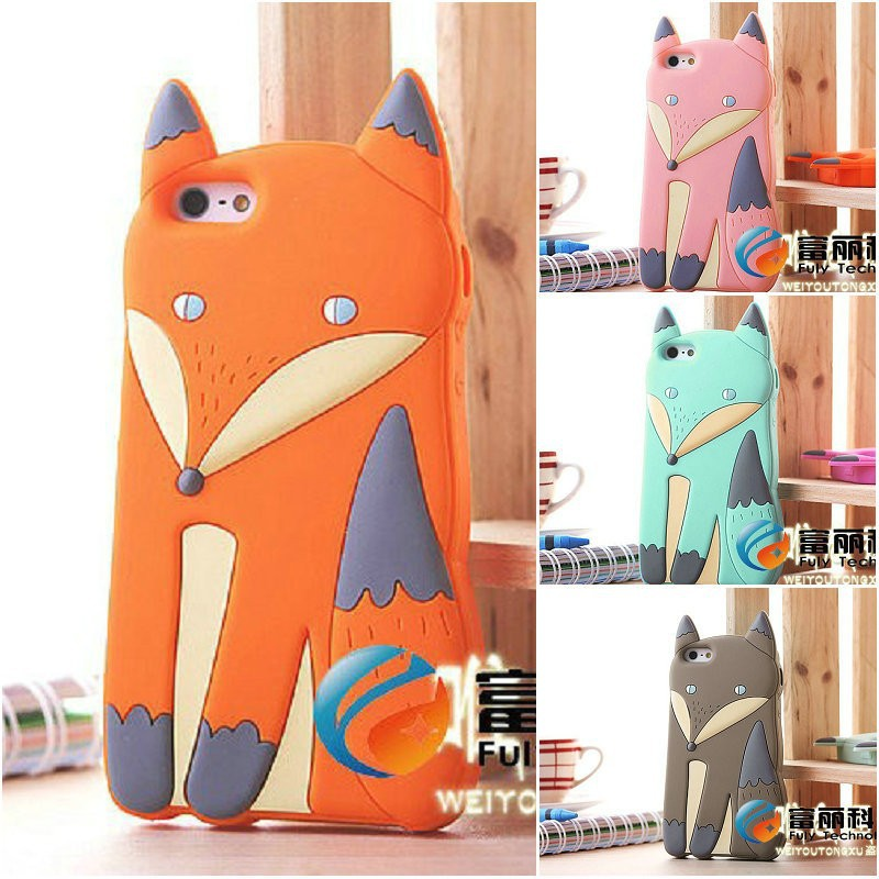 Lovely 3D Cute Silicone Cartoon Animal Fox soft cover Case for iPhone 4 4S iphone4,50pcs/lot Free Shipping