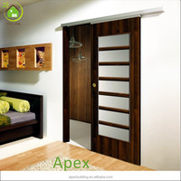 Solid wooden frosted glass interior sliding pocket door /closet door