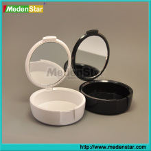 OEM imprinting dental denture retainer case plastic dental box with mirror (white & black)