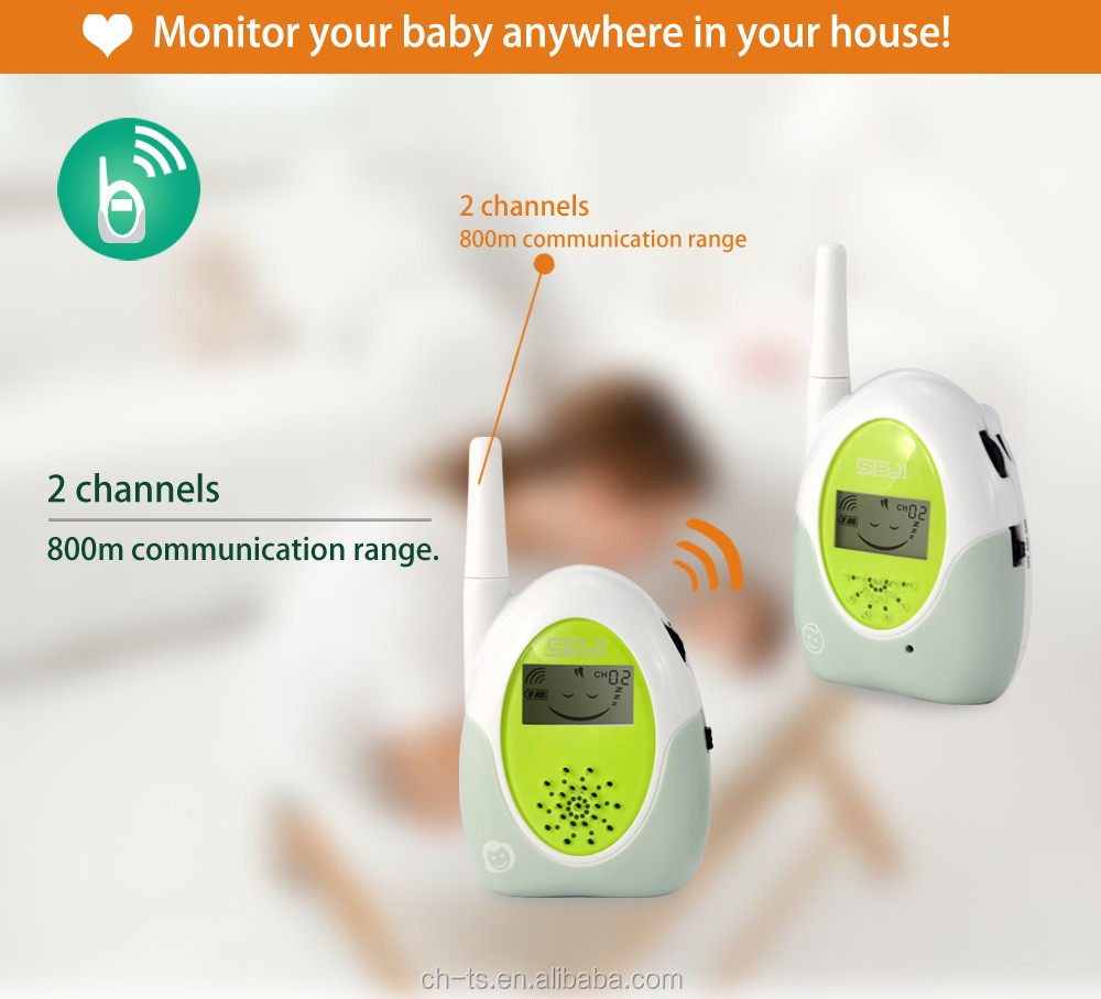 2 Channels Audio Baby Monitor with Emotional LCD Icons Long talking range radio baby phone