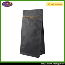 Matte Black Printed Plastic 500g Flat Bottom Pull Tab Coffee Bag With Good Sealability Zipper