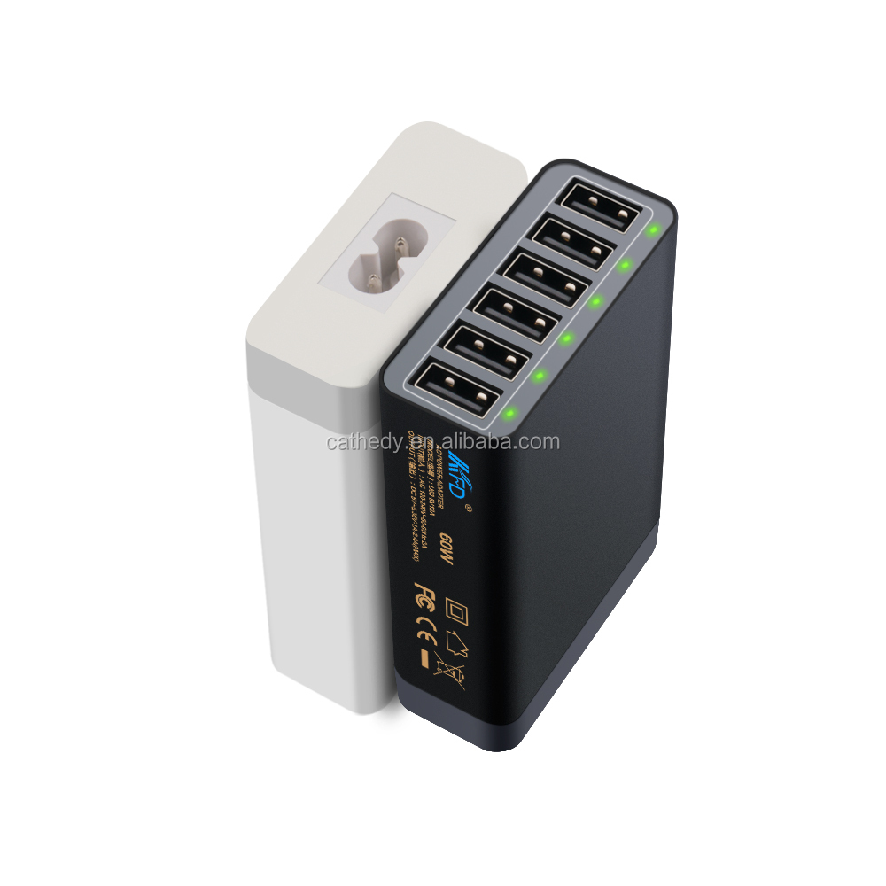 QC2.0 fast charging Shenzhen CE Approved 5V 12A travel 6 port usb charger with LED light Qualcomm certificated
