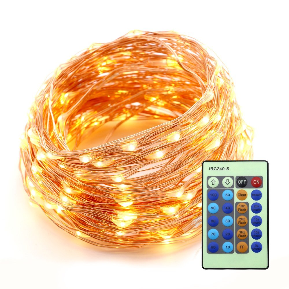 66ft 200 LEDs String Lights Flexible Copper Wire Waterproof Decor Rope Lights for Festival Christmas Wedding Holiday