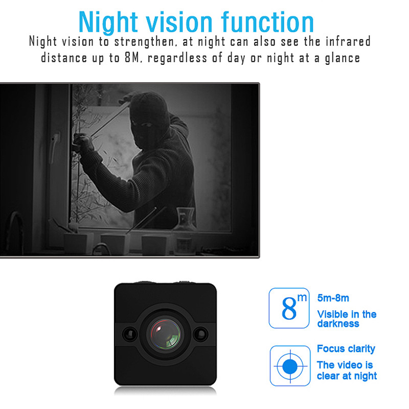 HD1080P150 degree Waterproof  Infrared Night Vision Mini Hidden Camera SQ12