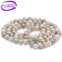 50cm long near round new design natural freshwater pearl pink pearl necklace