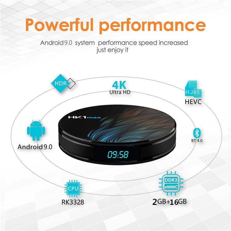 Android 9.0 with Digital display RK3328 2G RAM 16G ROM HK1 Max 4k HD smart tv box