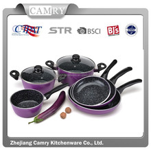 9pcs forged aluminium cooker set with purple color outside