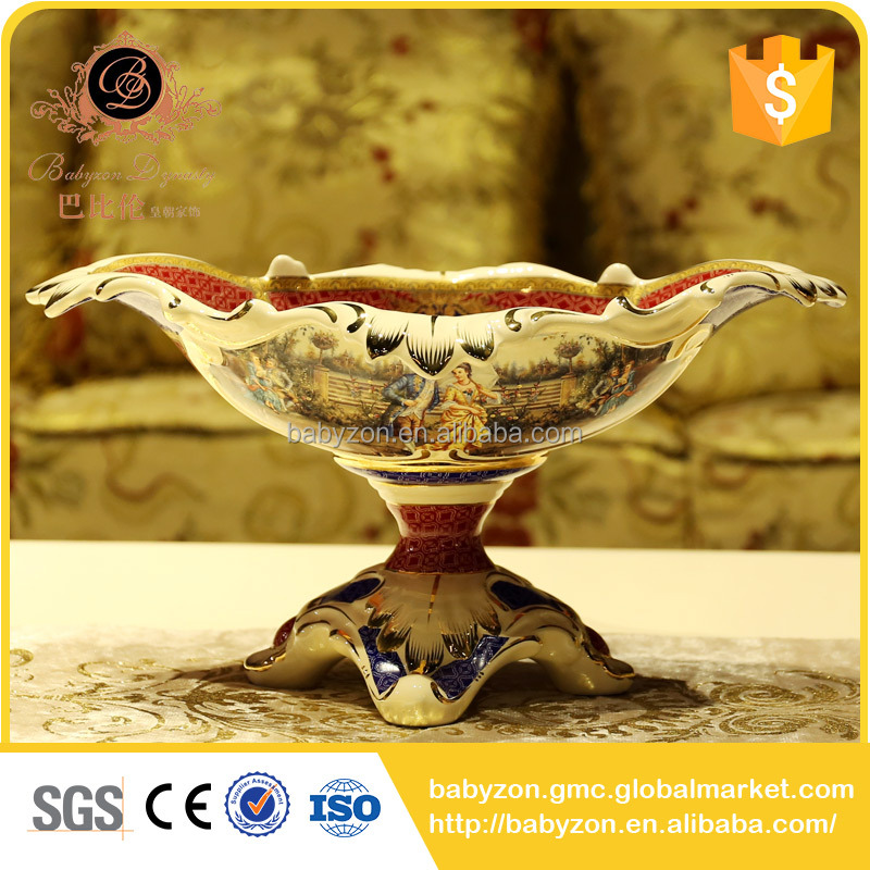 Luxury Red Color Ceramic Friut Bowl Glod Flower Bowl