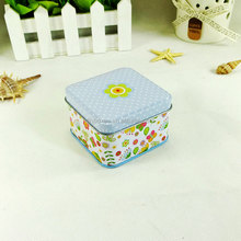 Decorative plain metal small square cosmetic tin container