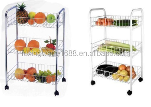 3 TIER FRUIT VEGETABLE RACK STORAGE STAND WITH WHEELS CART TROLLEY WHITE , BLACK