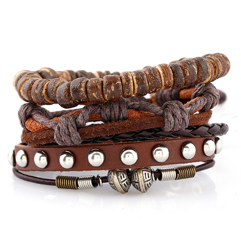 New arrival vintage woven leather bracelet DIY men jewelry wholesale