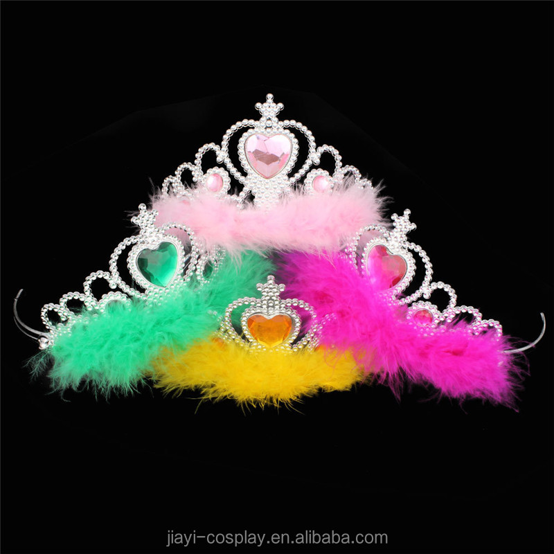Cheap Plasict Birthday Tiara Crown With Pink Feather For Kids