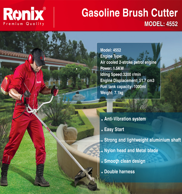Ronix Portable Backpack Gasoline Brush Cutter Grass Trimmer with 2 stroke petrol engine 1500W 4552 in stock
