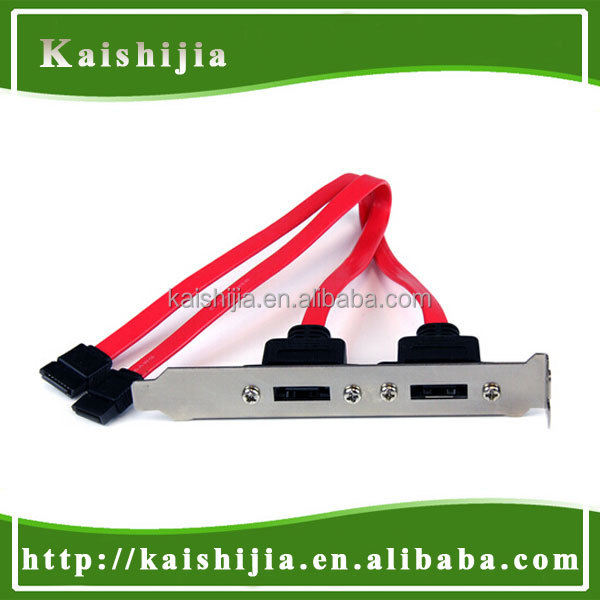 SATA to eSATA, eSATA Bracket Two SATA II Internal Cable to 2 port ESATA Bracket for SATA I and SATA II Hard Drive Model ESATA