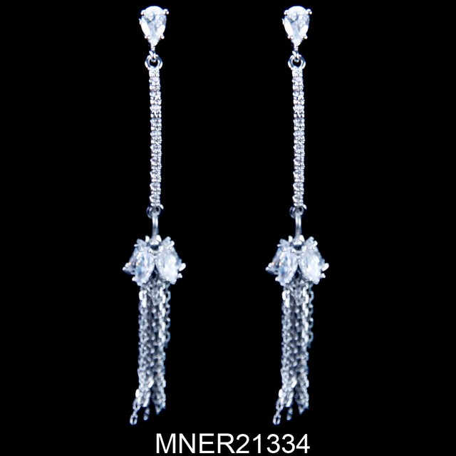 Wedding fashion style CZ bridal long dangle earring jewelry