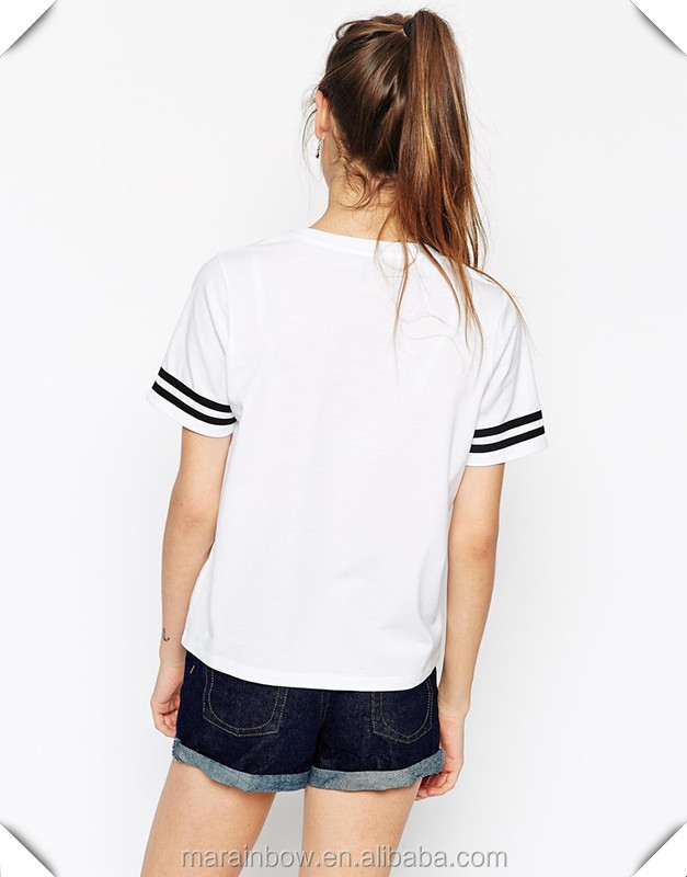 Teen Girl T Shirt 100% Cotton White Plain Short Sleeve T Shirt Wholesale China Striped Blank Custom T-shirt