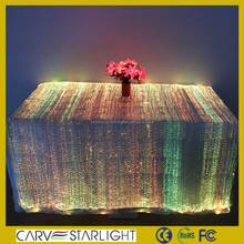 Luminous fiber optic light up led white table cloth
