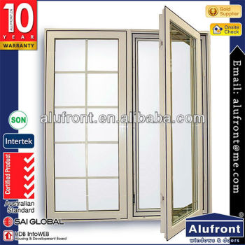 UPVC profile casement window, upvc glass window with security bars