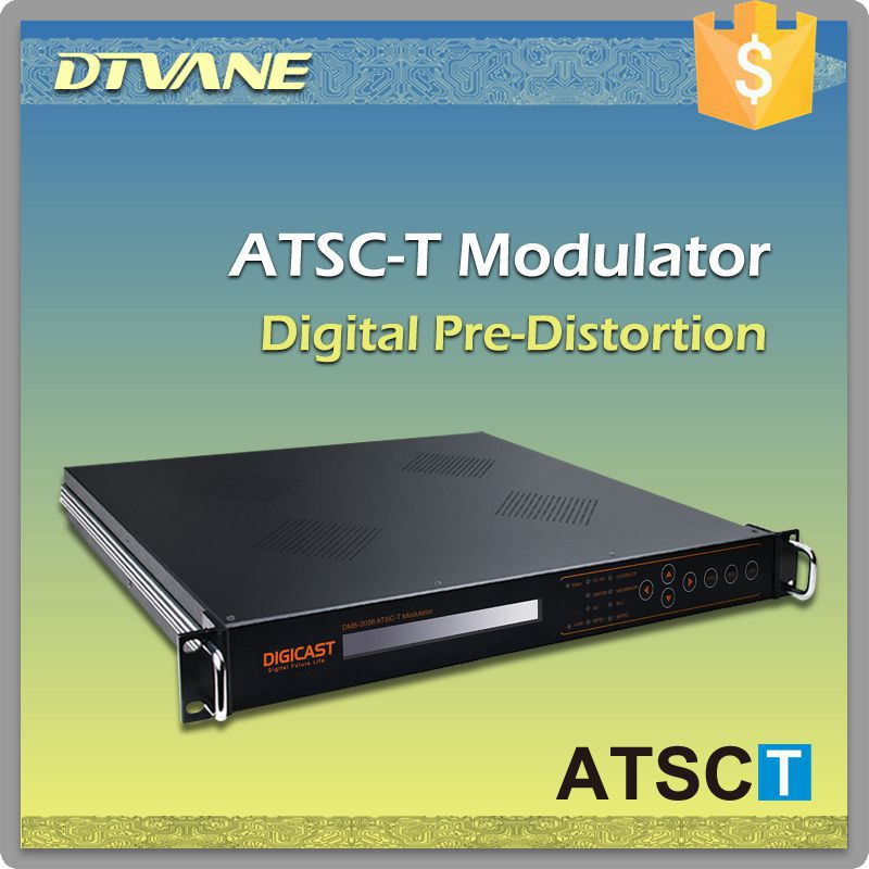 DVB system ATSC-T Modulator ASI+SMPTE-310M+IPPS+10Mhz reference clock input DPD modulator with linear non-linear 8vsb modulator