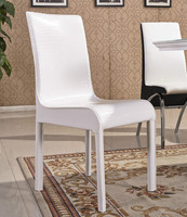 Modern comfortable white PU dining chair with metal frame