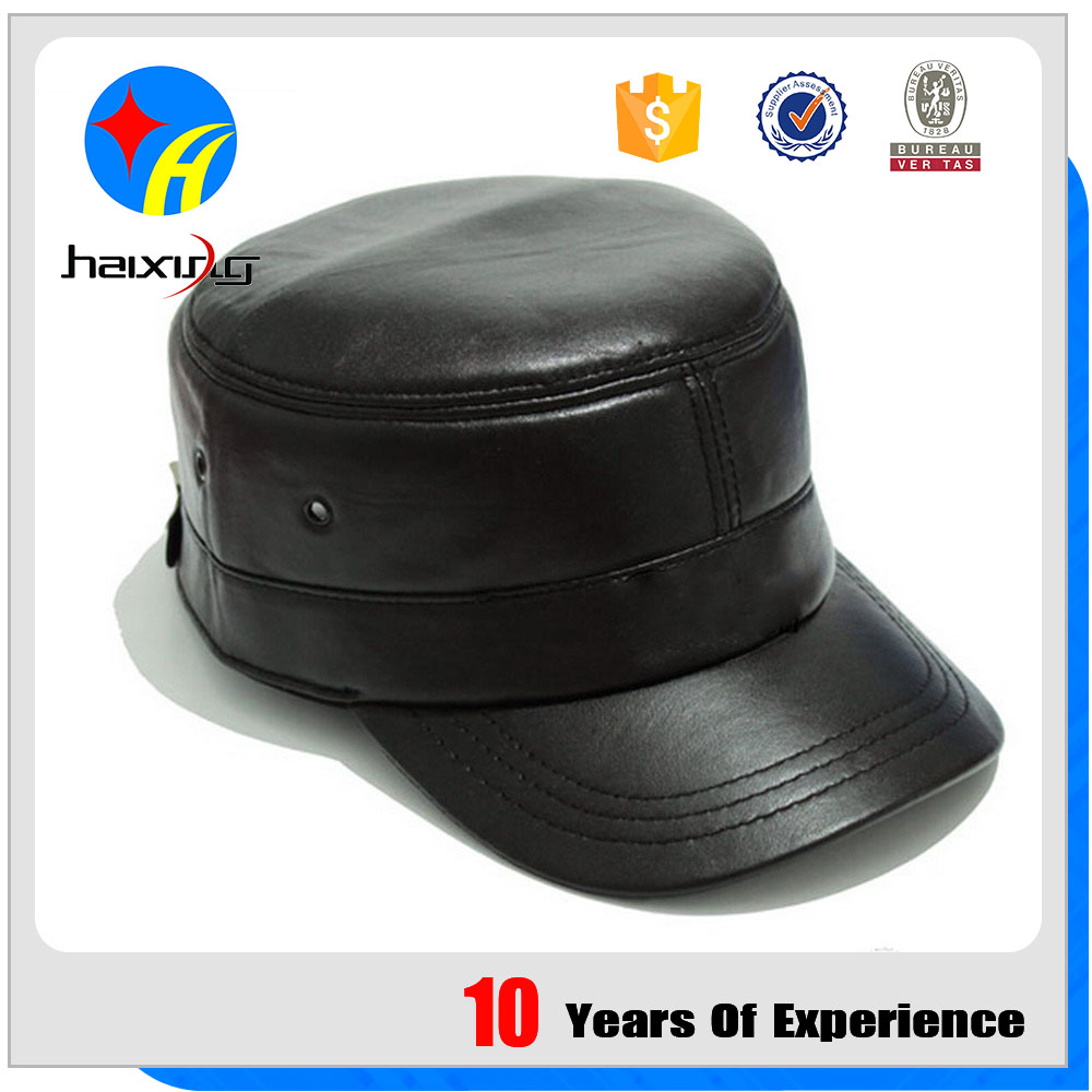 Black Leather Military Hat Manufacturer