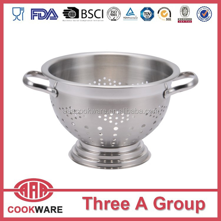 Stainless steel colanders with stand and handles