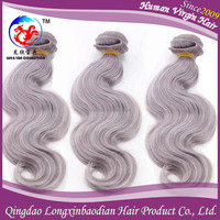 2015 New Arrival Factory Price Grey Human Hair For Braiding Body Wave Hair, Wet And Wavy Grey Hair Wefts
