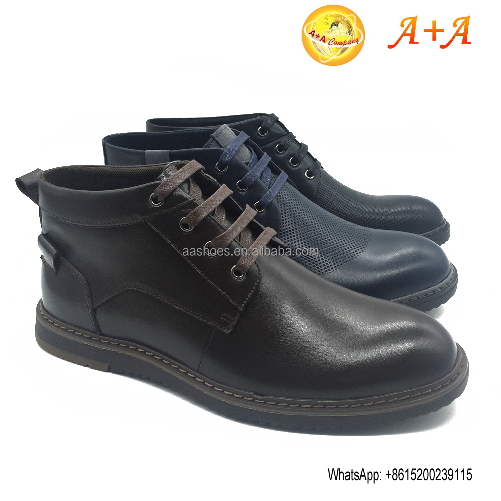 High end business leather boots The new winter head layer cowhide boots men's shoes