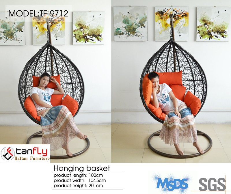 Economic and relaxing indoor swing chair with stand.