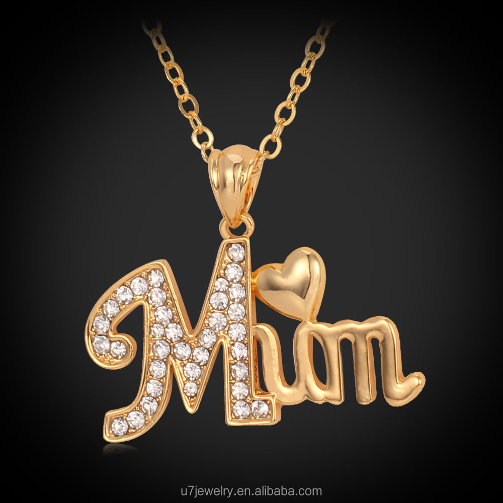 U7 Love Gift For Mother mum Letter Heart Pendant 18K Gold Plated Rhinestone Pendant Necklace birthday/xmas gift Women Jewelry