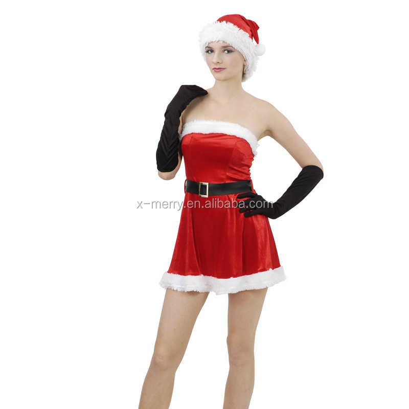 X-MERRY Womens Santa Claus Christmas Costume Cosplay Fur XMAS Outfit Fancy Dress Hot New