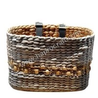 rectangle round water hyacinth basket for bicycle ( HLB 1727)
