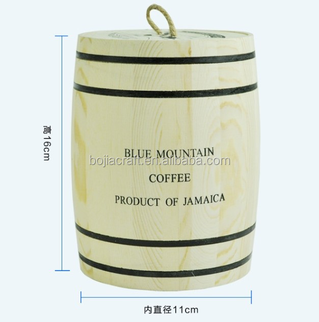 Bojia Factory new Natural Color Coffee Bean Packaging Wood Barrel