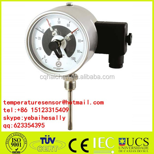 SS304 Electric Contact Bimetal Temperature gauge