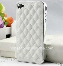New White Deluxe Leather Chrome Case Cover for Apple iPhone 4S 4 4G