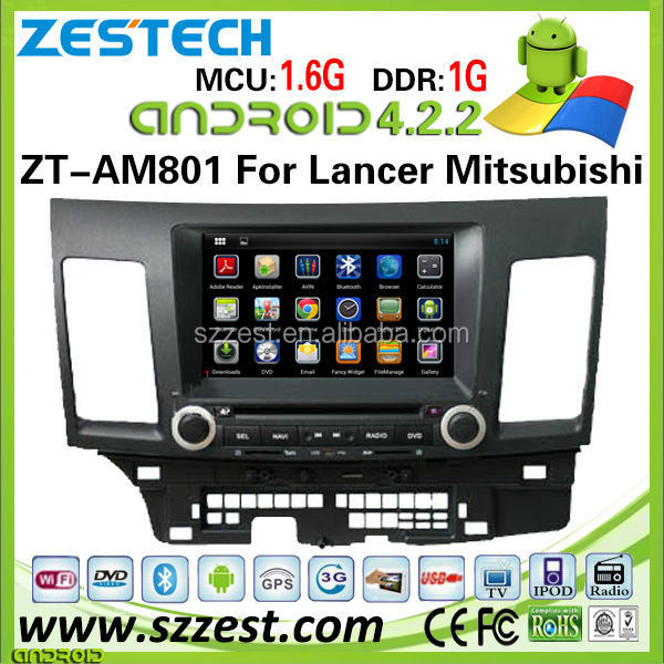 "ZESTECH OEM 8"" capacitive screen pure android car dvd 2 din for Mitsubishi Lancer car dvd with wifi 3g bluetooth gps radio"