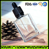 china supplier clear square empty glass bottles 30 ml glass dropper bottle with child resistant droppers/caps for e-juice