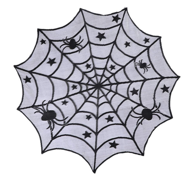 "Halloween decorations table cloth black spider web lace tablecloths Halloween Black Spider 40 "" Dia Round Table Topper"
